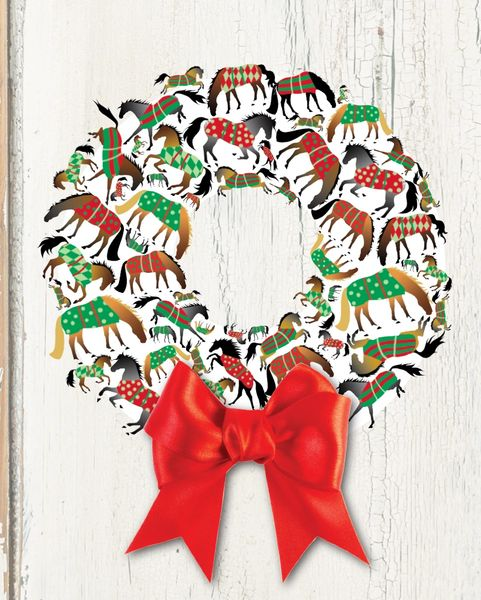 Christmas Card A Christmas Wreath Of Blanketed Horses Item Gc