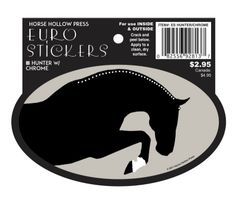 Euro Horse Oval Sticker: Hunter with Chrome Euro Sticker - Item # ES Hunter