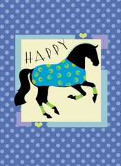 Birthday Card: Blue Happy Dressage Horse Item# GC B B Dressage