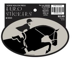 Euro Horse Oval Sticker: H/J or EQ Rider - Item # ES Rider!