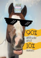 Birthday Card: 90% attitude and 10% sweet! Item# GC B 2 Dewey