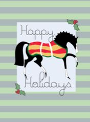 Gift Enclosure Card: Stylized Horse with Stripes & Holly 4 blank-inside cards, 4 envelopes - Item # GEC X Style GLG