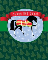 BOXED Christmas Card: Stylized Christmas horse with Tree Background - Item# BX TS Horse