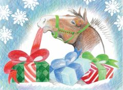 BOXED Christmas Cards: Horse Unwrapping a Present - Item # BX Xmas 15