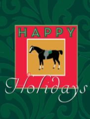 Gift Enclosure Card: Antique Happy Holidays Horse 4 blank-inside cards, 4 envelopes - Item # GEC X AH 2