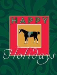 Gift Enclosure Card: Antique Happy Holidays Horse 4 blank-inside cards, 4 envelopes - Item # GEC X AH 2