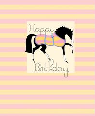 Birthday Card: Stylized Horse with Pink & Yellow striped background - Item# GC B Style P&Y