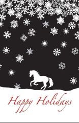BOXED Christmas Cards: Happy Holidays. White cantering horse with snow flakes - Item # BX Snow