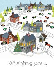 Christmas Card: New England Scene with Horses - Item# GC X 7