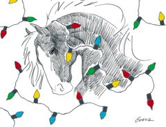 Christmas Card: Horse wrapped in Holiday Lights - Item # GC X HWL