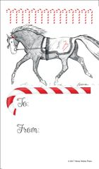 Gift Tags in BULK: Trotting Horse with Candy Canes - Item # GT X 36 BULK