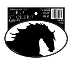 Euro Horse Oval Sticker: Black Horse Head Profile - Item # ES 2HH