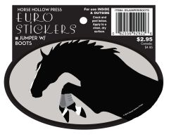 Euro Horse Oval Sticker: Jumper with Boots Euro Sticker - Item # ES Jumper with boots