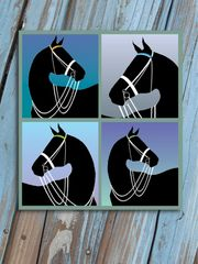 Birthday Card: Silo Black Horse in Double Bridle Item# GC B B Silo