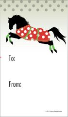 Gift Tags in BULK: Galloping Green Horse with Red Wraps in Snow - Item # GT X 1 BULK