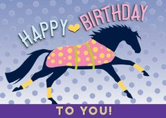 Birthday Card: Little Pink Blanketed Horse - Item# GC B LPB
