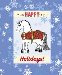 Christmas Card: Pudgy Blanket Pony with Snowflakes - Item# GC X BLKTCart