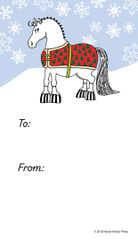 Gift Tags in BULK: Pudgy Blanketed Horse with Snowflakes- Item # GT X BLKTCart BULK