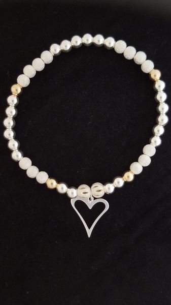 Handmade Sterling Silver Open Heart Charm Bracelet With 9ct Gold Beads