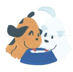 Cat and Dog with Bowl Embroidery Design