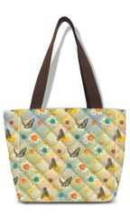 Butterfly Pattern Fabric Quilted Lunch Tote