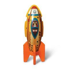 Vintage Tin Toy Magnet - Space Rocket