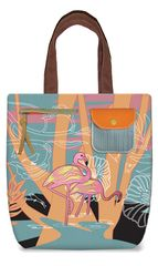 Flamingo - Embroidery Canvas Shoulder Tote