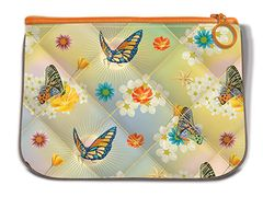 Butterfly Pattern Fabric Quilted Mini Pouch