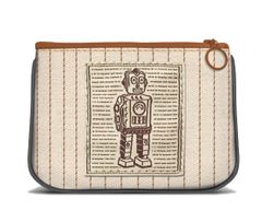 Robot - Canvas Small Zipper Pouch