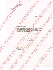 Lucille Ball Authentic Signed Autographed Letter with Lucy and Desi Letterhead