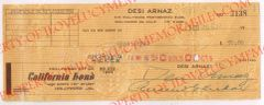 Desi Arnaz Authentic Double Signed Autograph Check to Himself for $50.00