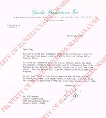 Desi Anaz Authentic Signed Autograph Letter with Desilu Productions Letter Head to Jim Murray