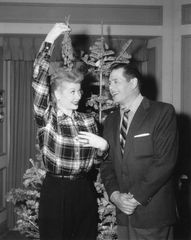 I Love Lucy Christmas Show B&W 8x10 of Lucy and Desi