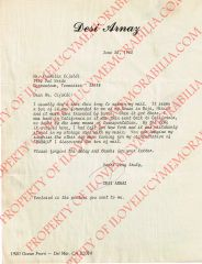 Desi Arnaz Authentic Initialed Letter with Personal Letter Head