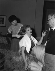 Candid of Lucille Ball and Hairstylist Irma Kusely 8x10