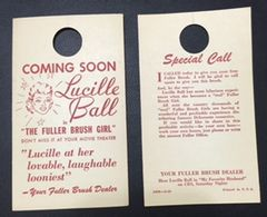 "Vintage Lucille Ball ""The Fuller Brush Girl"" Advertisement Door Hang Tags from 1950"