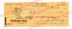 Desi Arnaz California Bank Authentic Double Signed Check to Himself for $35.00