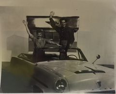 Lucille Ball and Desi Arnaz waving from The Long Long Trailer 8x10