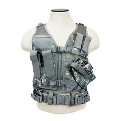 Tactical Vest XS-S Size w/2xMag Pouch, 2xUtility Pouch & Holster - Digital Camo