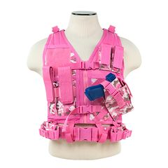 Tactical Vest XS-S Size w/2xMag Pouch, 2xUtility Pouch & Holster - Pink