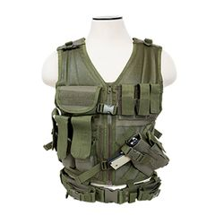 Tactical Vest XL-XXL+ Size w/3xMag Pouch, 3xUtility Pouch & Holster - Green