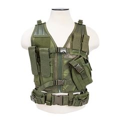 Tactical Vest XS-S Size w/2xMag Pouch, 2xUtility Pouch & Holster - Green