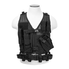 Tactical Vest XS-S Size w/2xMag Pouch, 2xUtility Pouch & Holster - Black