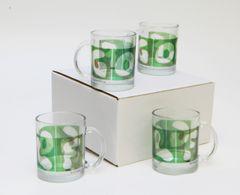 4 Pack GOLF Mugs Clear Glass