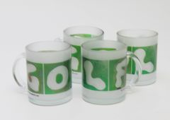 4 Pack GOLF Mugs Frosted Glass