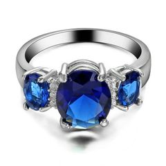 10kt White Gold Filled Bright Blue Cubic Zirconia Ring Size 5.5