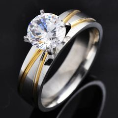 Yellow Gold Filled on White Background and CZ Solitaire Ring Size 9