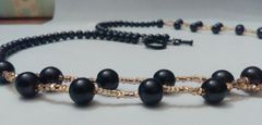 Double Strand Black Imitation Pearl Beaded Necklace With Black Toggle Clasp