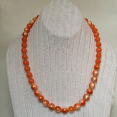 Orange Hand-Painted Crystal Glass Loose Beads Necklace, Orange Hand-Painted Loose Bead Necklace.