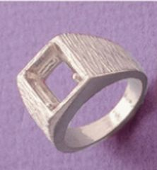 8x6-12x10mm Octagon Sterling Silver Men's Pre-Notched Textured Style Heavy Ring Setting Size 7-14